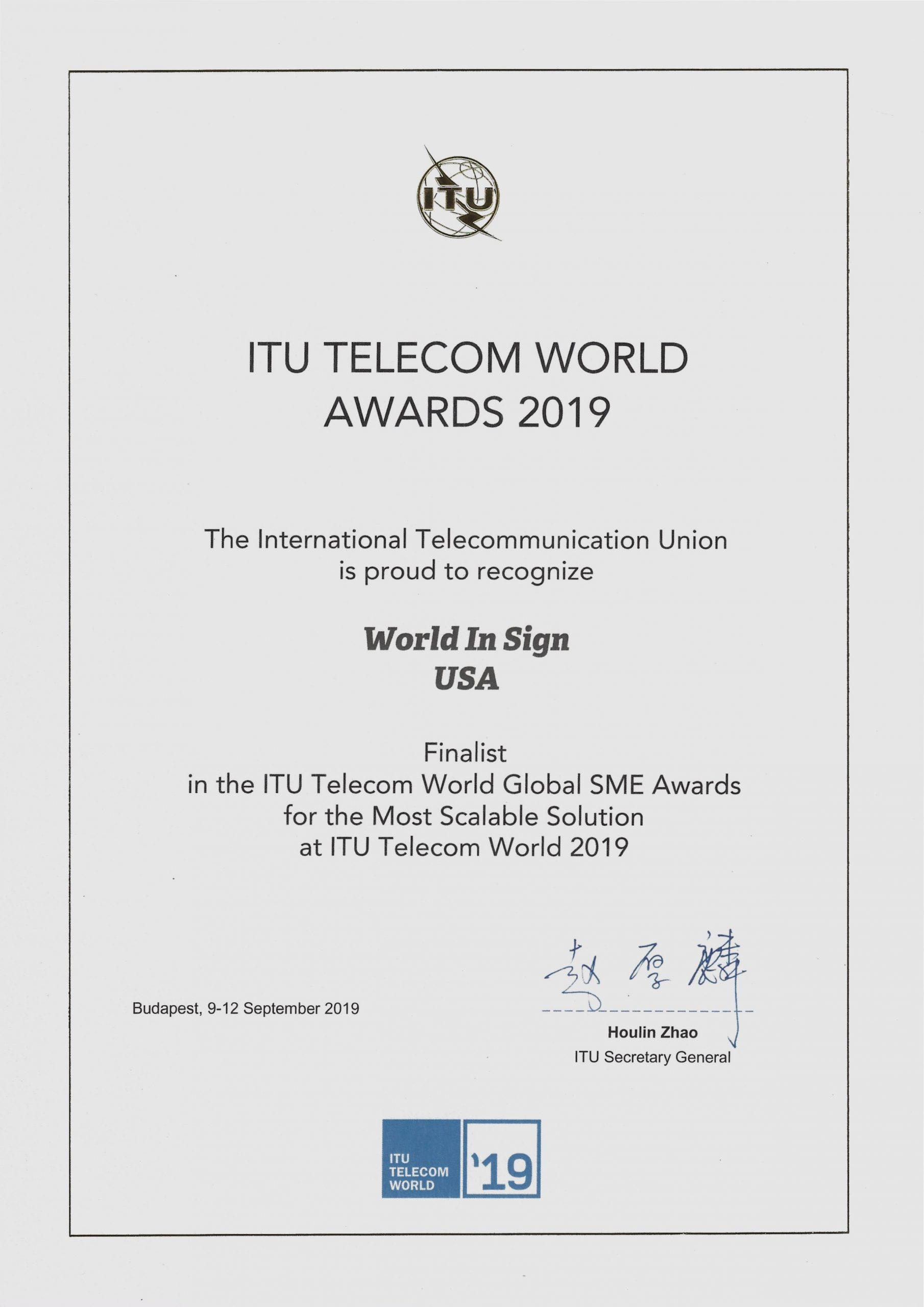 2019 ITU Telecom World Awards